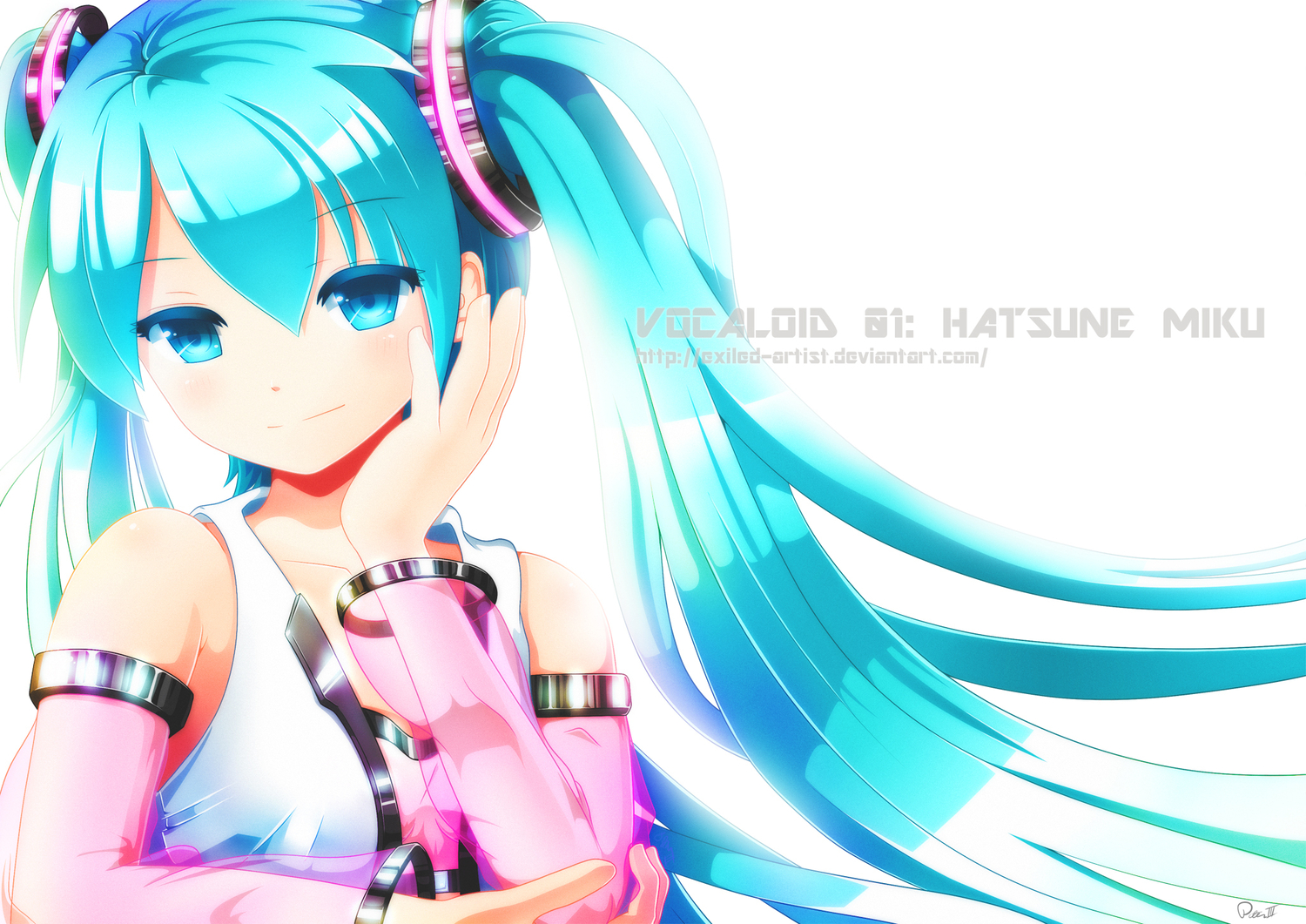 aqua_eyes aqua_hair exiled-artist hatsune_miku signed twintails vocaloid watermark white