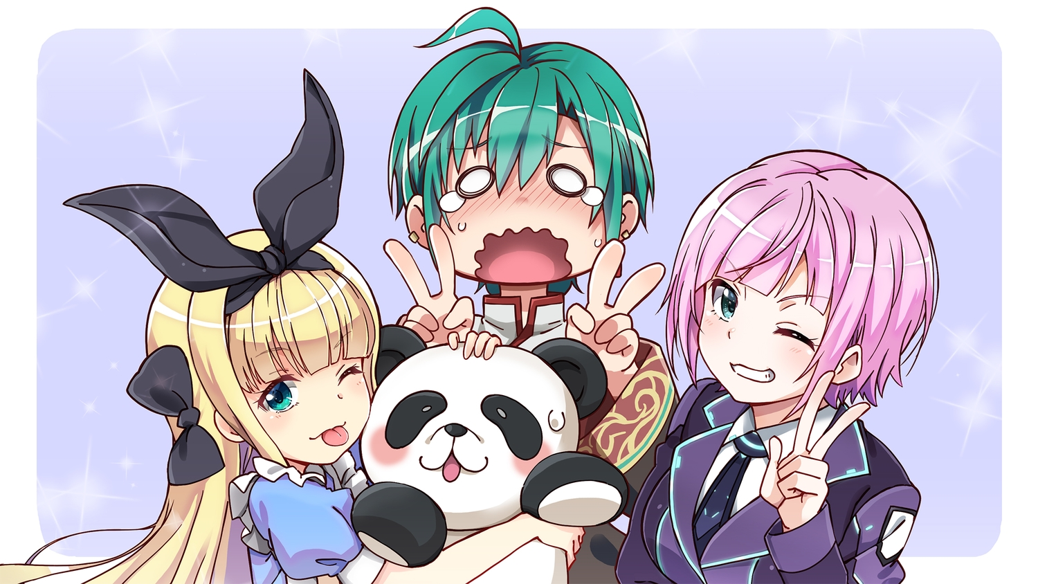 animal bear blonde_hair blush bow chinese_clothes fujita_758634 green_eyes green_hair headband hug long_hair mononobe_alice nijisanji panda purple_hair ryuushen short_hair suit tears tie wink yuuhi_riri