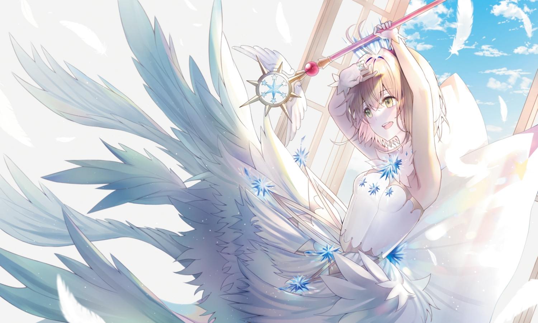 brown_hair card_captor_sakura clouds dress feathers gloves green_eyes kinomoto_sakura lium short_hair sky wand