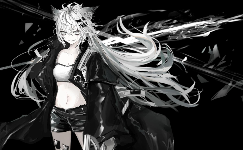 aliasing arknights black gray_eyes lappland_(arknights) long_hair monochrome naruwe navel shorts white_hair