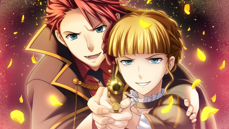 aqua_eyes beatrice blonde_hair gun male petals red_hair short_hair tagme_(artist) umineko_no_naku_koro_ni ushiromiya_battler weapon