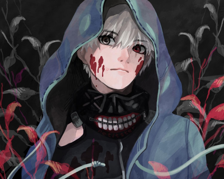 all_male bicolored_eyes cropped hoodie kaneki_ken male mask petitster short_hair tokyo_ghoul white_hair