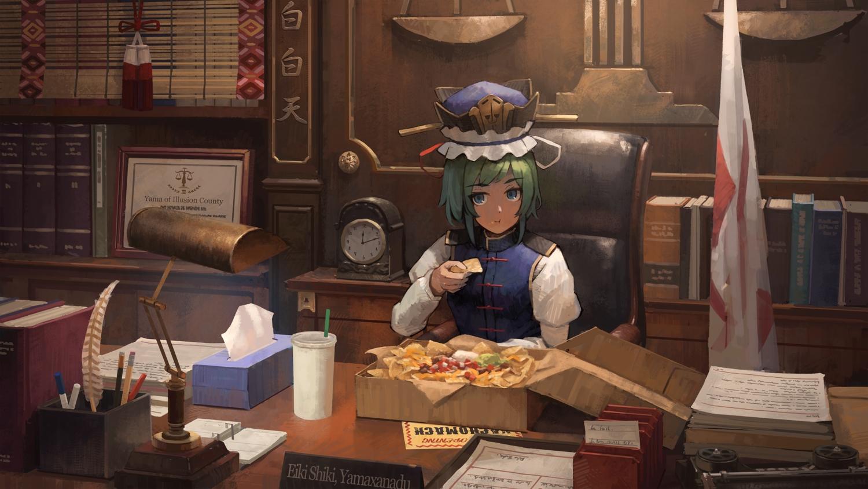 book drink food mikado_(winters) shikieiki_yamaxanadu touhou