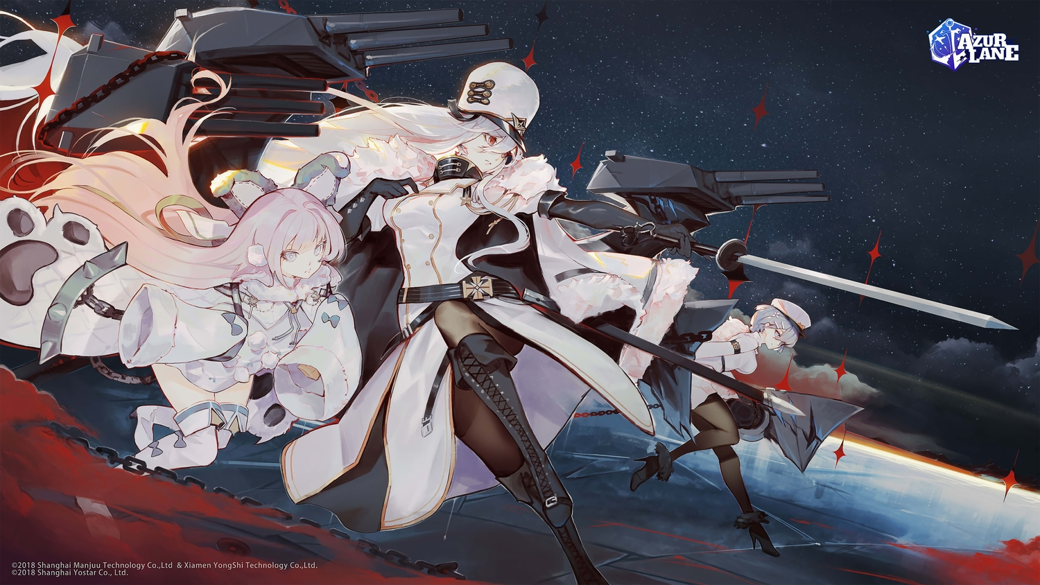 animal_ears anthropomorphism azur_lane blue_eyes blue_hair boots chapayev_(azur_lane) doomfest gloves hat logo loli long_hair night pantyhose pink_eyes pink_hair red_eyes short_hair sovetskaya_rossiya_(azur_lane) sword tashkent_(azur_lane) weapon white_hair