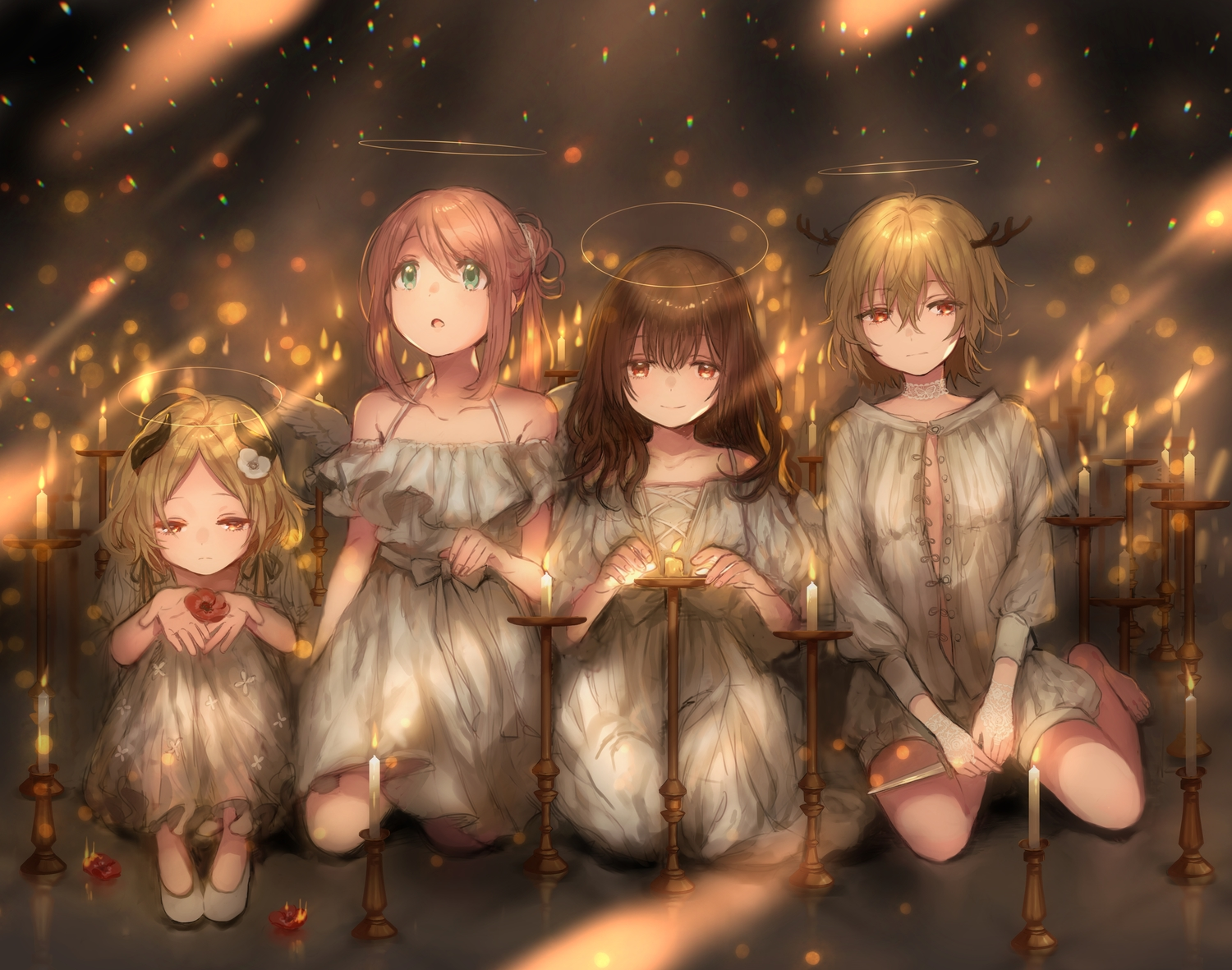 brown_hair canarinu dress green_eyes group halo horns knife long_hair orange_eyes original short_hair weapon wings