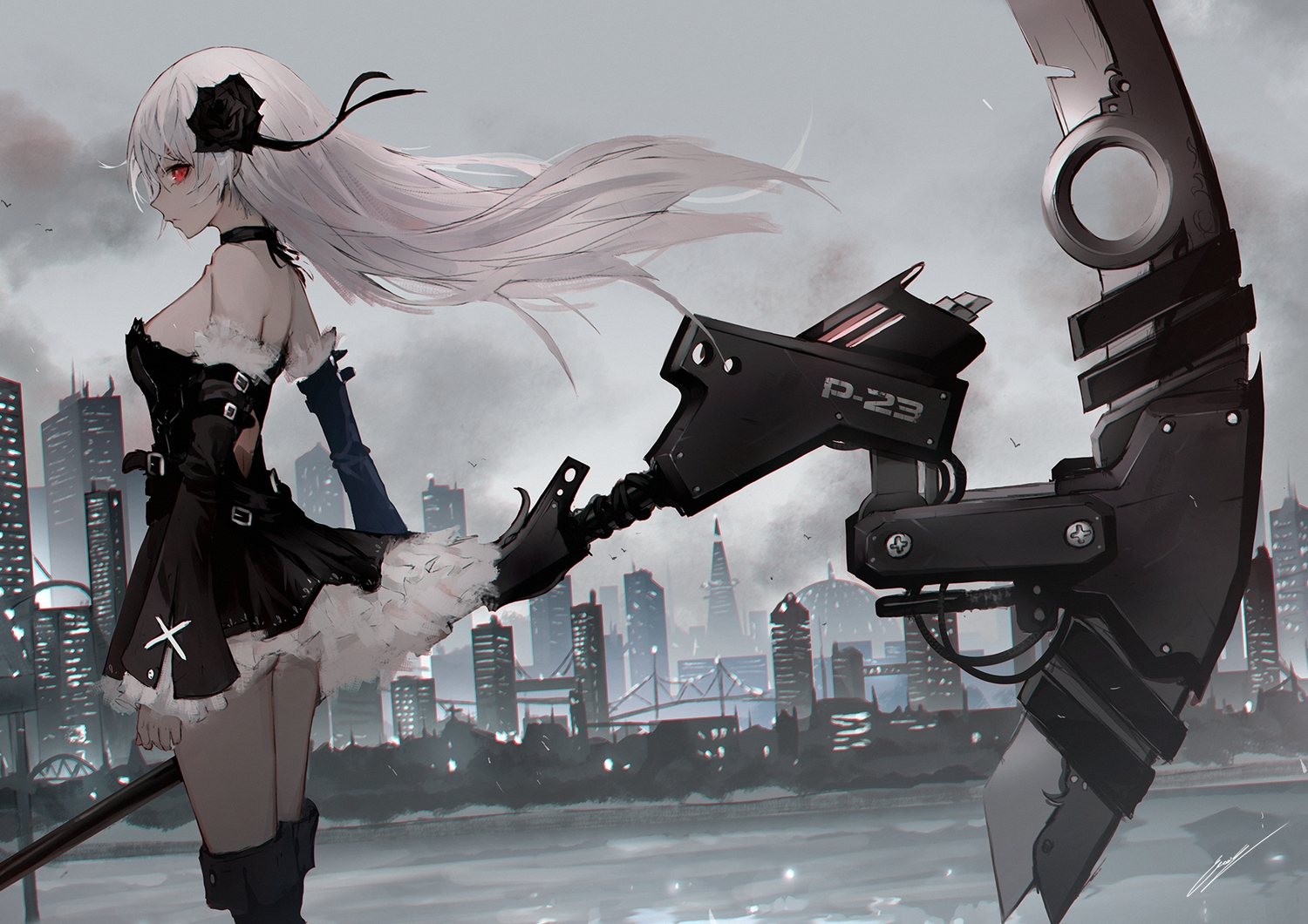 boots building choker city dress erospanda gothic long_hair original red_eyes scythe signed sky water weapon white_hair