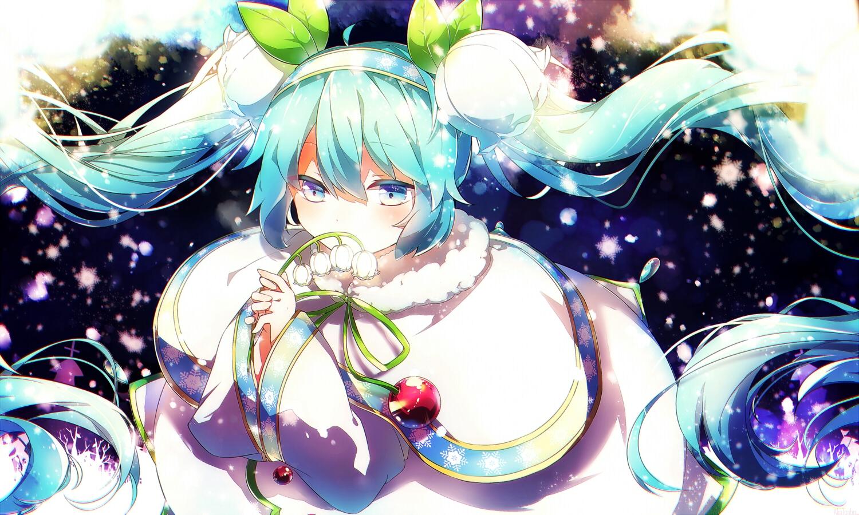 aka_tonbo_(lovetow) aliasing aqua_eyes aqua_hair flowers hatsune_miku leaves twintails vocaloid yuki_miku