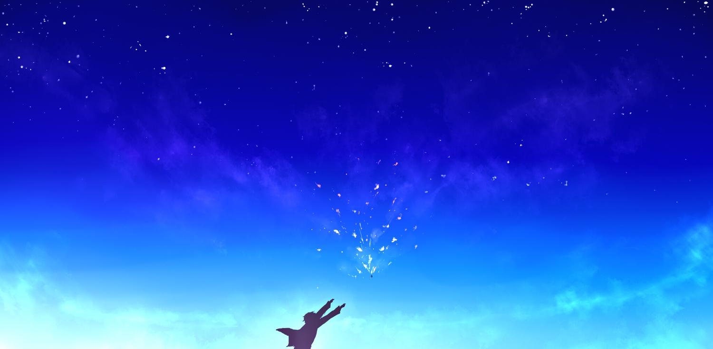 blue clouds kanbara_akihito kibunya_39 kyoukai_no_kanata silhouette sky stars