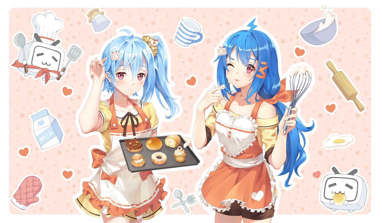2girls apron aqua_hair bandaid bili_bili_douga bili_girl_22 bili_girl_33 blue_hair cake carminar dress food heart long_hair pink_eyes ponytail shorts wink