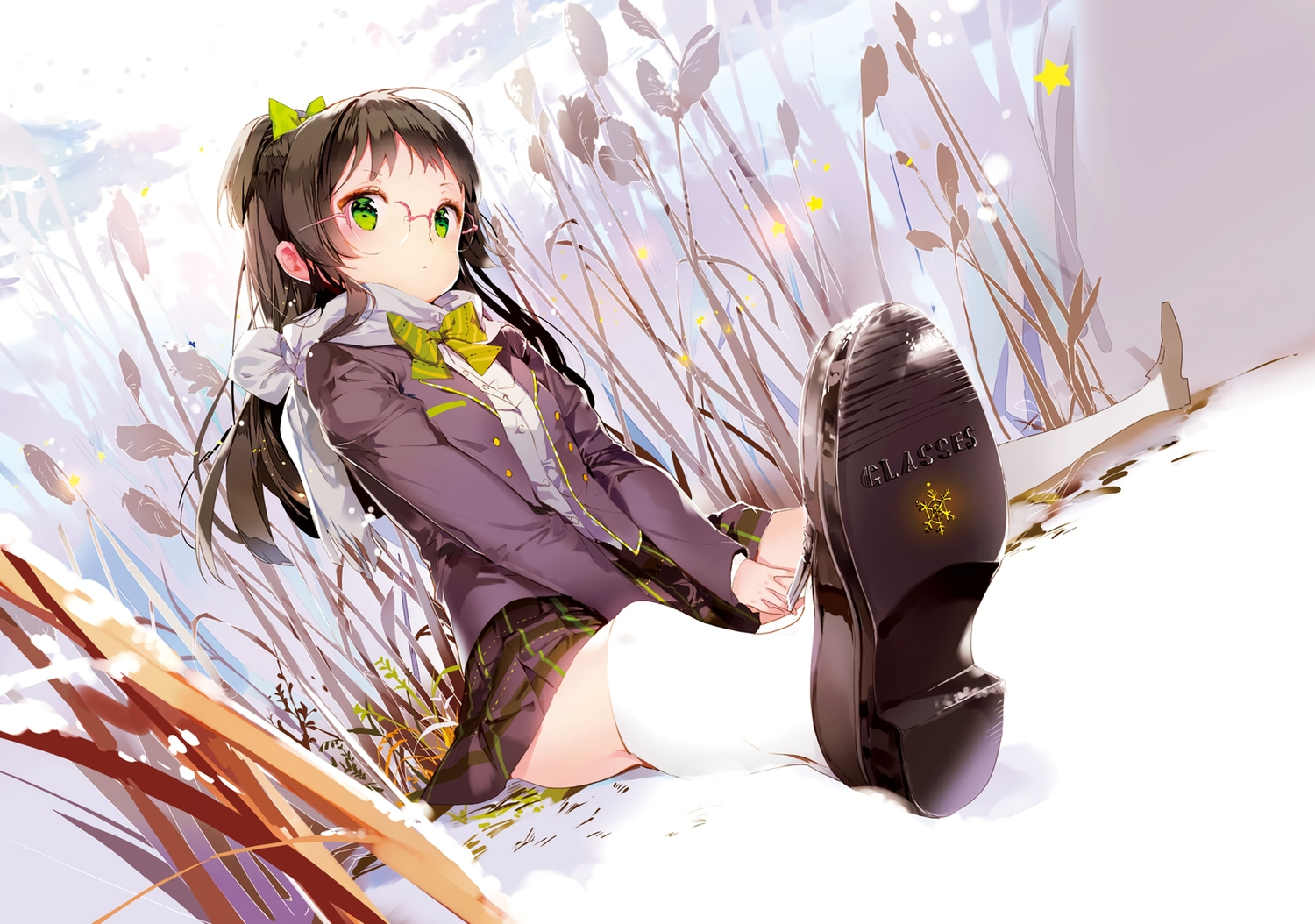 anmi black_hair bow cropped glasses green_eyes kneehighs original scan scarf skirt snow
