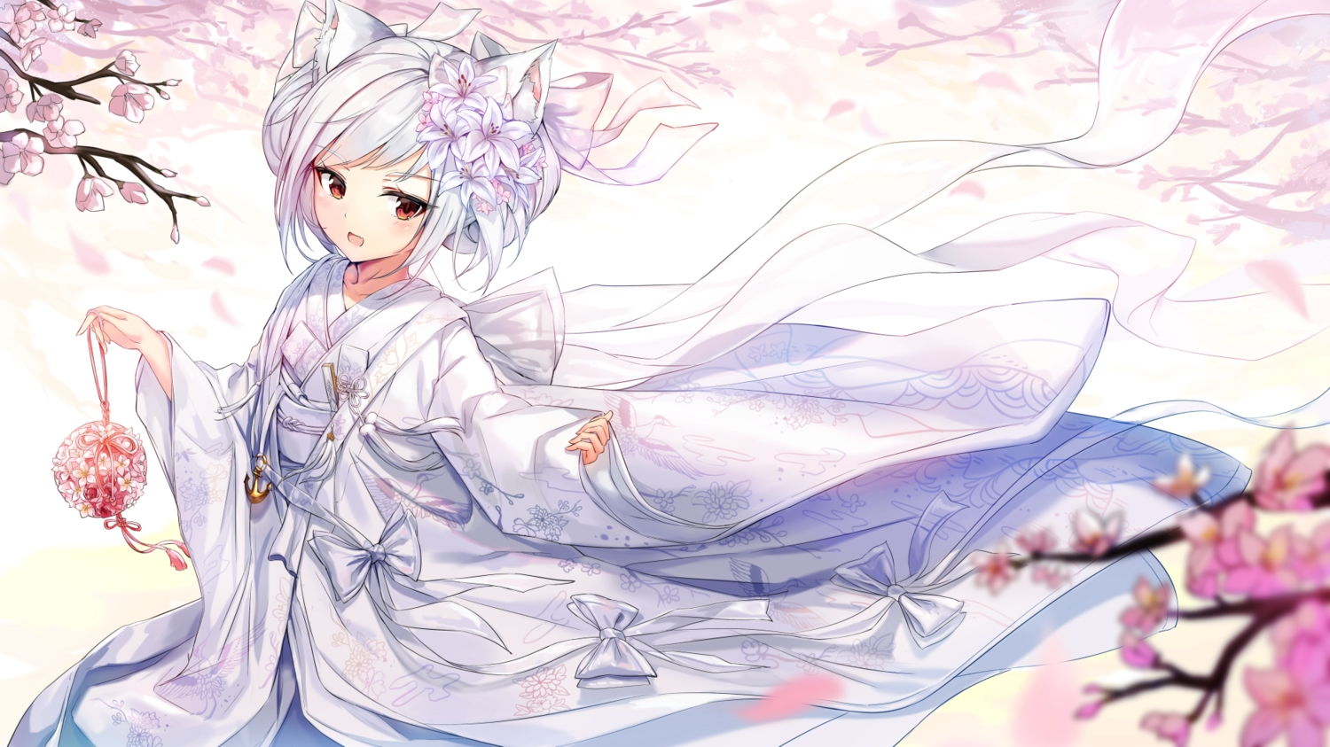 aliasing animal_ears anthropomorphism azur_lane bow catgirl cherry_blossoms fang flowers japanese_clothes kimono pdxen red_eyes ribbons wedding_attire white_hair yukikaze_(azur_lane)