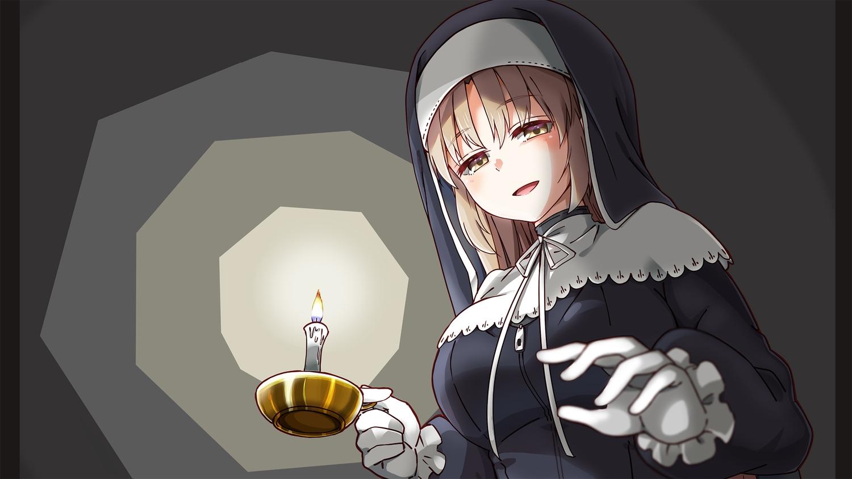 breasts brown_eyes brown_hair fujita_758634 gloves gray headdress long_hair nijisanji nun sister_cleaire