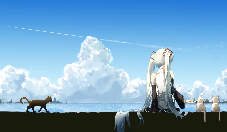 animal cat clouds hatsune_miku long_hair scenic sky taka_(0taka) twintails vocaloid