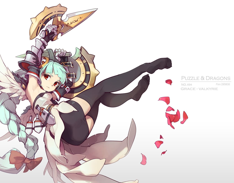 aqua_hair armor bow braids knife long_hair petals puzzle_&_dragons red_eyes skirt tennohi thighhighs valkyrie_(p&d) weapon zettai_ryouiki