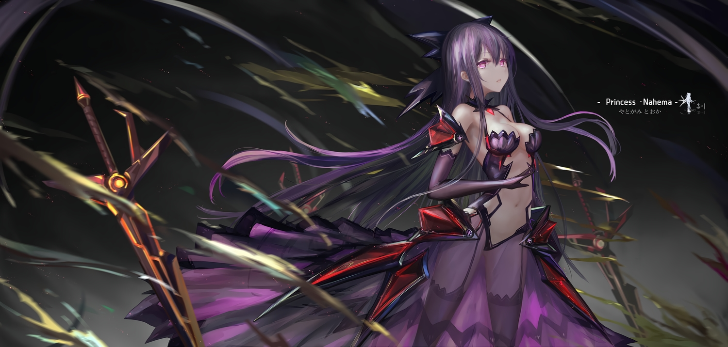 armor bodysuit breasts cleavage date_a_live elbow_gloves gloves hc long_hair navel purple_eyes purple_hair thighhighs watermark yatogami_tohka