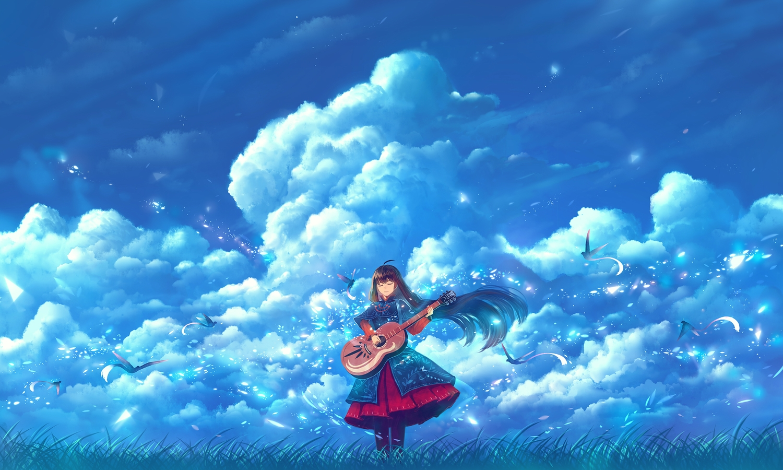 animal bird black_hair bou_nin clouds dress flowers guitar instrument long_hair original petals sky