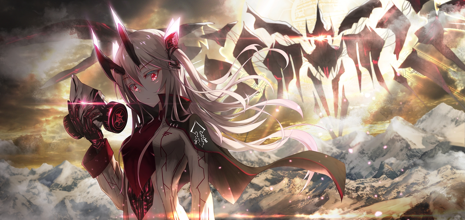 blonde_hair boyogo cape clouds horns long_hair mask mecha original red_eyes sky sunset twintails