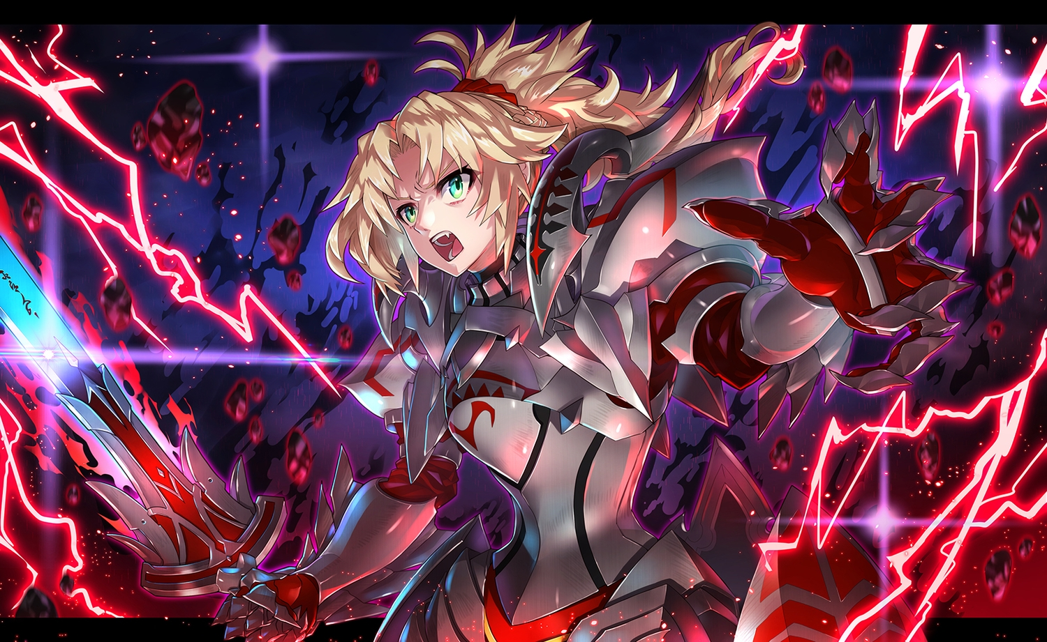 armor blonde_hair braids fate/apocrypha fate/grand_order fate_(series) green_eyes mordred ponytail short_hair sword toshi_gahara weapon
