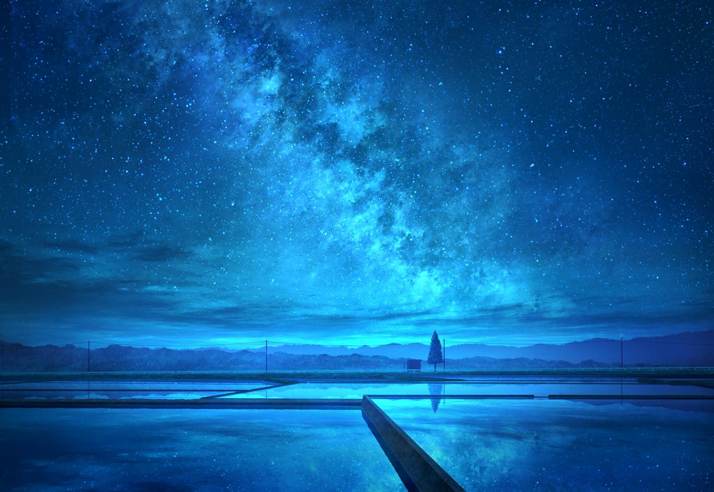 clouds mks night nobody original polychromatic reflection scenic sky stars tree water