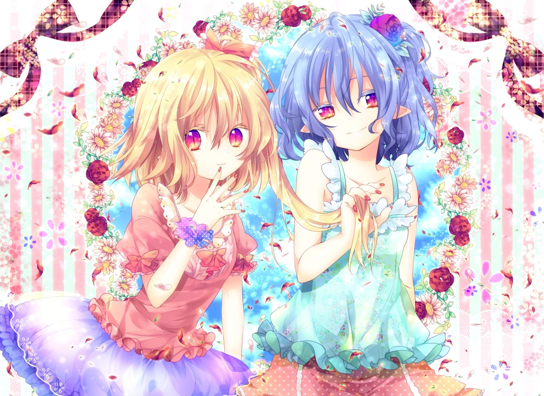 2girls blonde_hair blue_hair bow flandre_scarlet flowers pointed_ears remilia_scarlet riichu touhou vampire