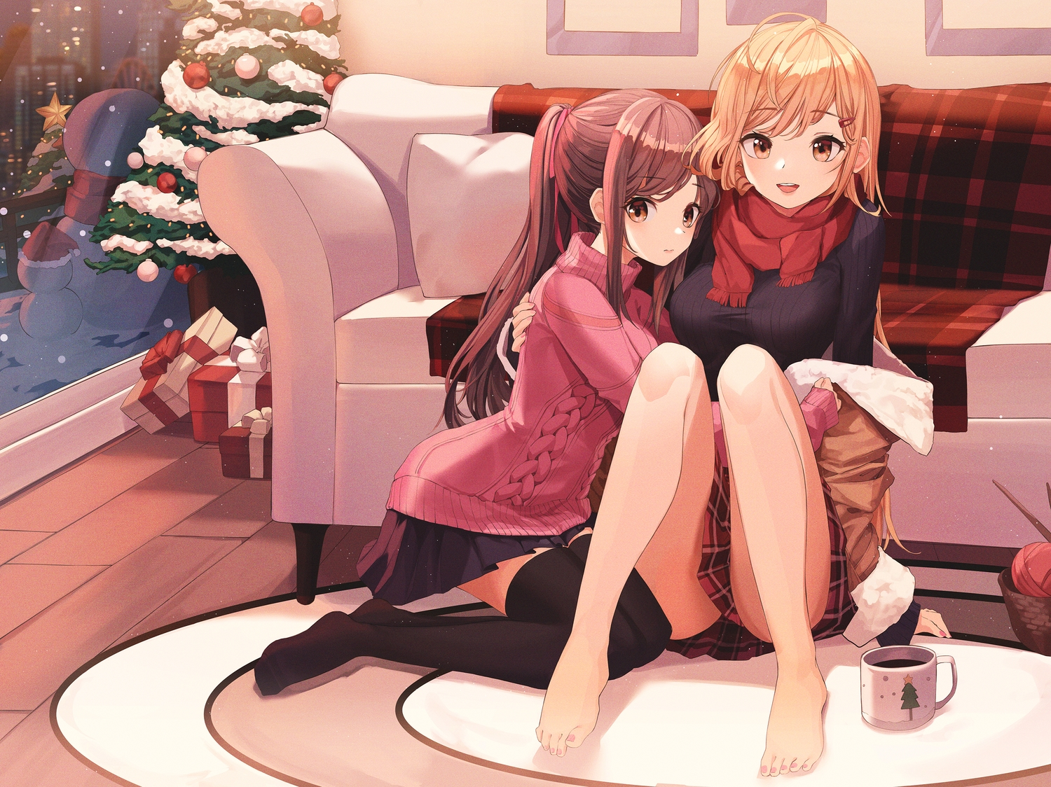 2girls barefoot blonde_hair brown_eyes brown_hair christmas couch drink long_hair munseonghwa original ponytail scarf skirt thighhighs
