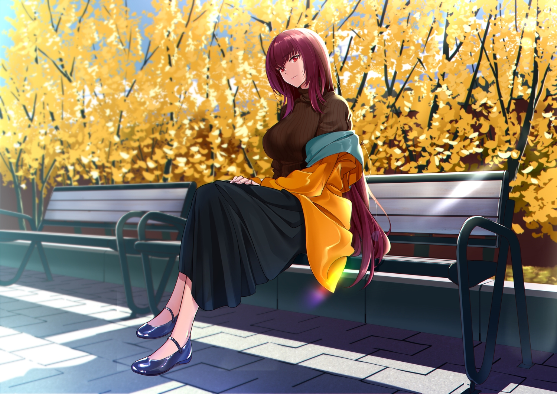 autumn fate/grand_order fate_(series) long_hair purple_hair red_eyes scathach_(fate/grand_order) shijie_jianfa skirt
