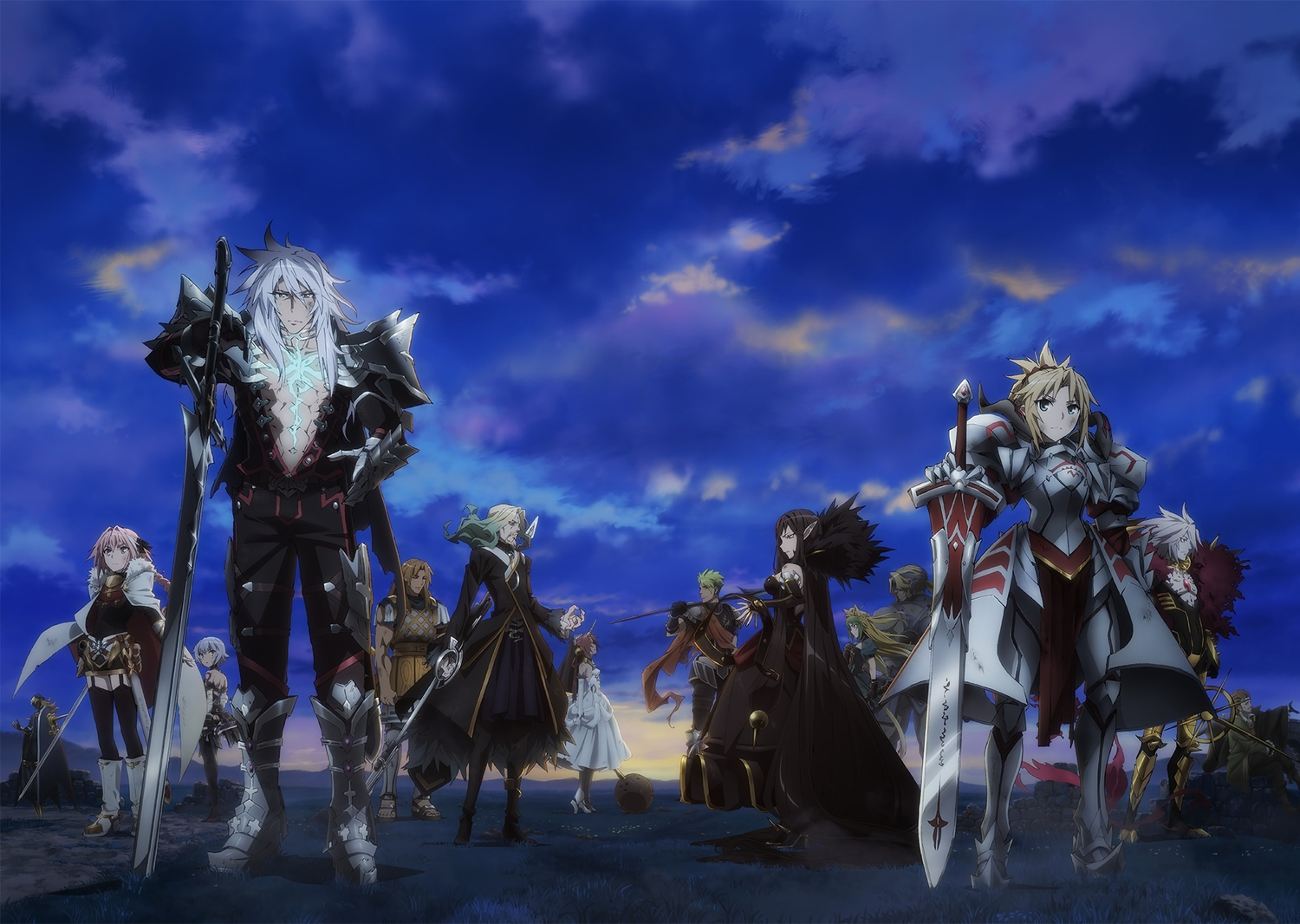 achilles animal_ears armor astolfo atalanta_(fate) blonde_hair boots braids chiron clouds fate/apocrypha fate_(series) frankenstein garter_belt grass gray_hair jack_the_ripper karna long_hair male mordred pink_eyes pink_hair ponytail semiramis short_hair siegfried sky solomon_ibn_gabirol spartacus sword tagme_(artist) tail trap vlad_the_impaler weapon william_shakespeare
