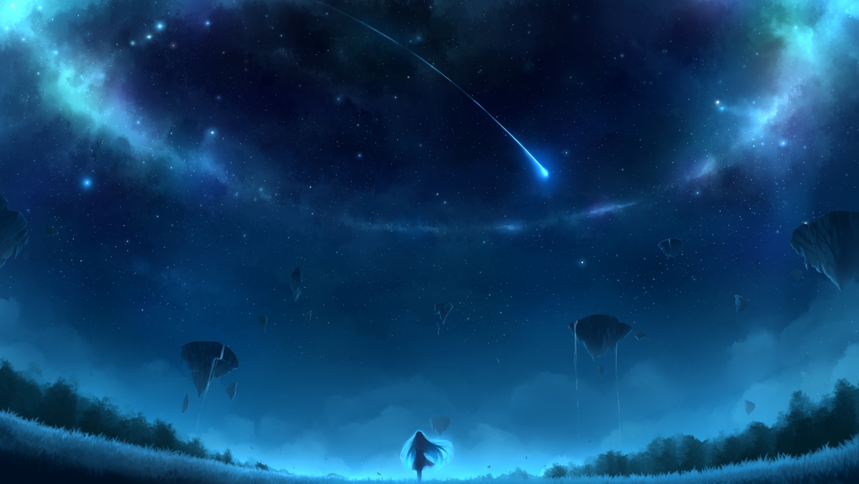blue dress hatschyuh long_hair original polychromatic scenic sky stars