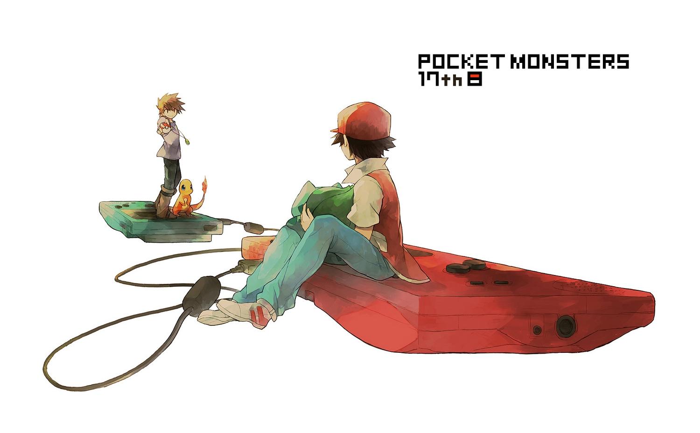 all_male black_hair brown_hair bulbasaur charmander hana_(mew) hat male necklace ookido_green pokemon red_(pokemon)
