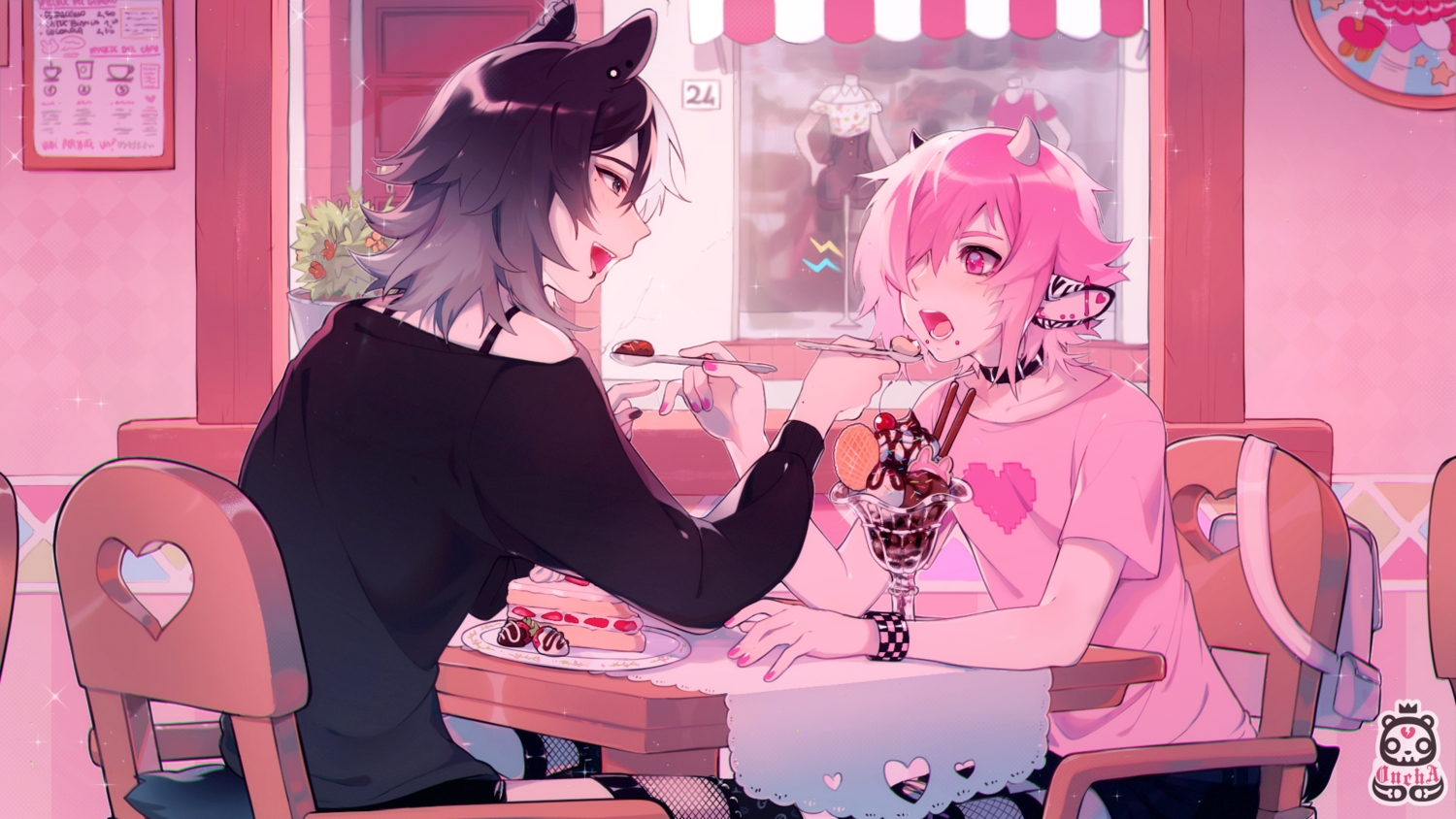 all_male animal_ears cake food fruit male oncha original strawberry watermark