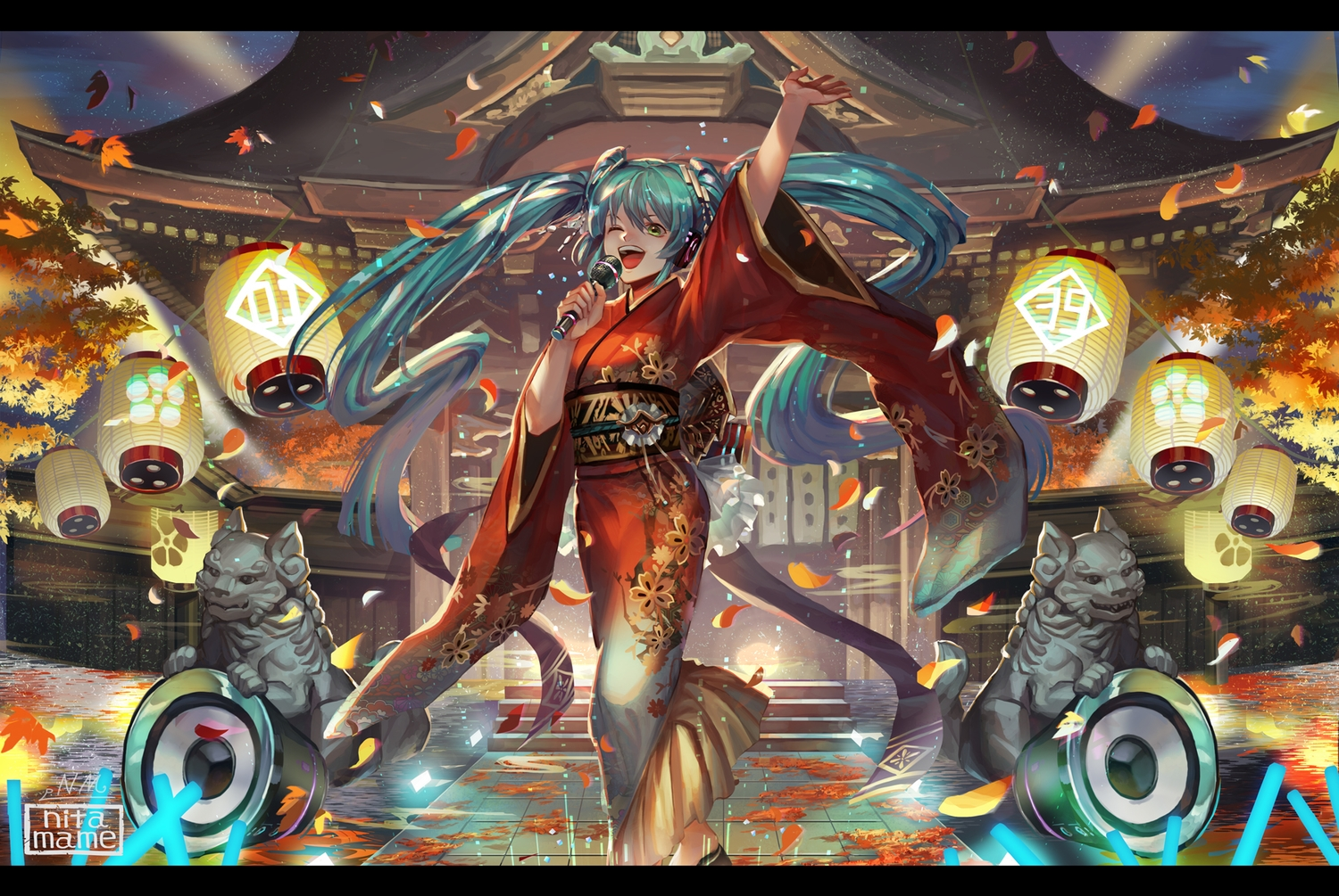hatsune_miku japanese_clothes kimono leaves microphone nitamame shrine vocaloid watermark