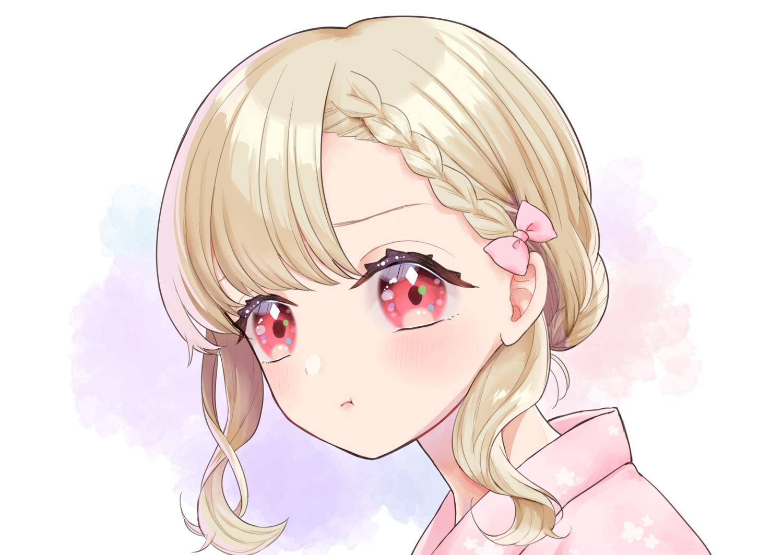 blonde_hair blush braids close japanese_clothes kashika_(siiika) original red_eyes short_hair yukata