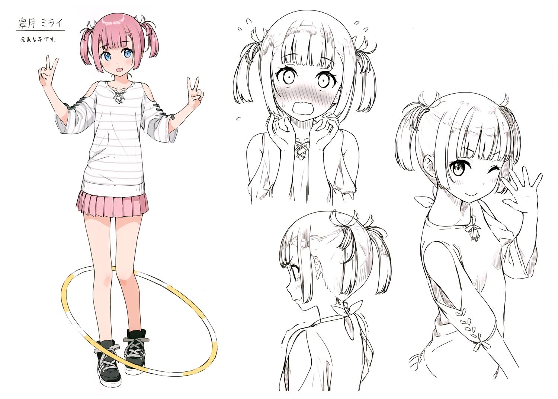 blue_eyes blush kantoku original pink_hair satsuki_mirai sketch skirt twintails wink