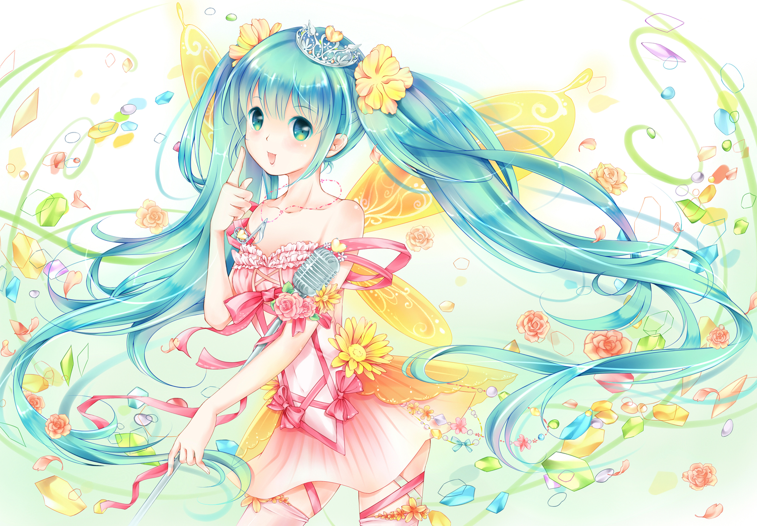 aqua_eyes aqua_hair dress emurina flowers hatsune_miku long_hair microphone thighhighs twintails vocaloid wings