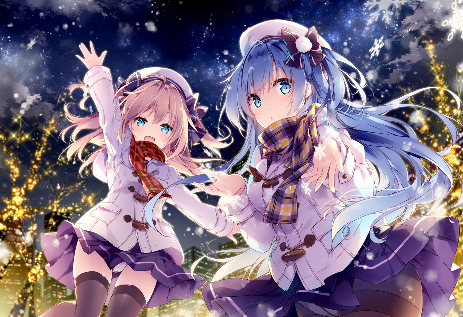 2girls aqua_eyes blonde_hair blue_hair bow building christmas city clouds emori_el emori_miku emori_miku_project hat hoodie long_hair mochizuki_shiina night panties pantyhose scarf seifuku skirt sky snow stars thighhighs tree twintails underwear