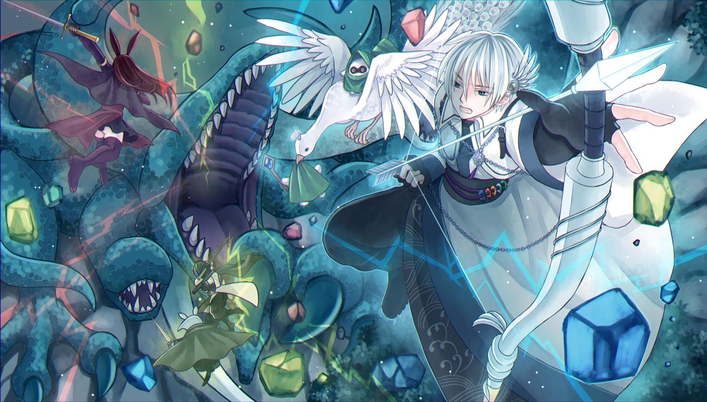 animal bird bow_(weapon) gray_hair group kisshou_mizuki male original pixiv_fantasia short_hair weapon