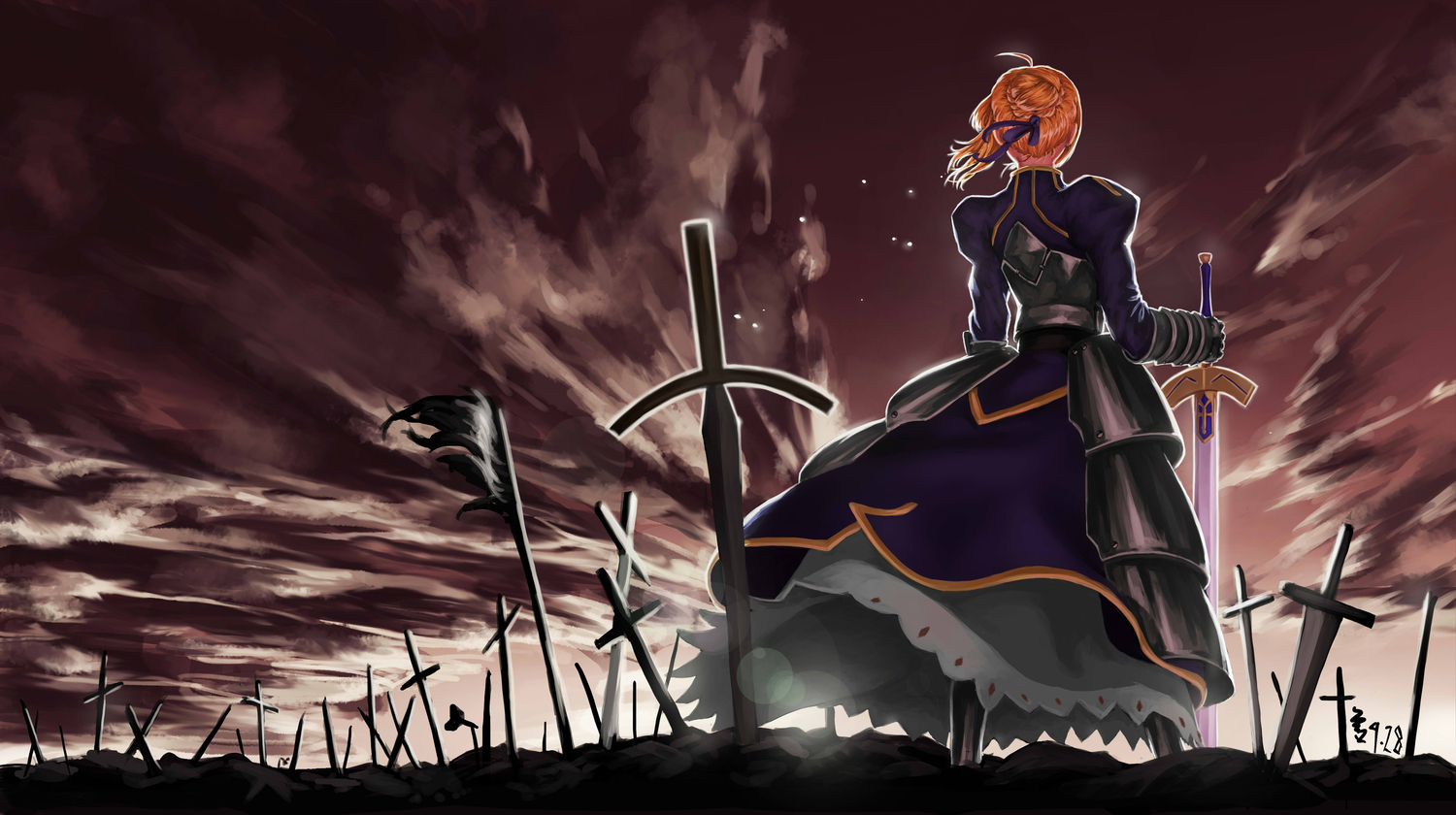 artoria_pendragon_(all) fate_(series) fate/stay_night feitie jpeg_artifacts saber sky sword weapon