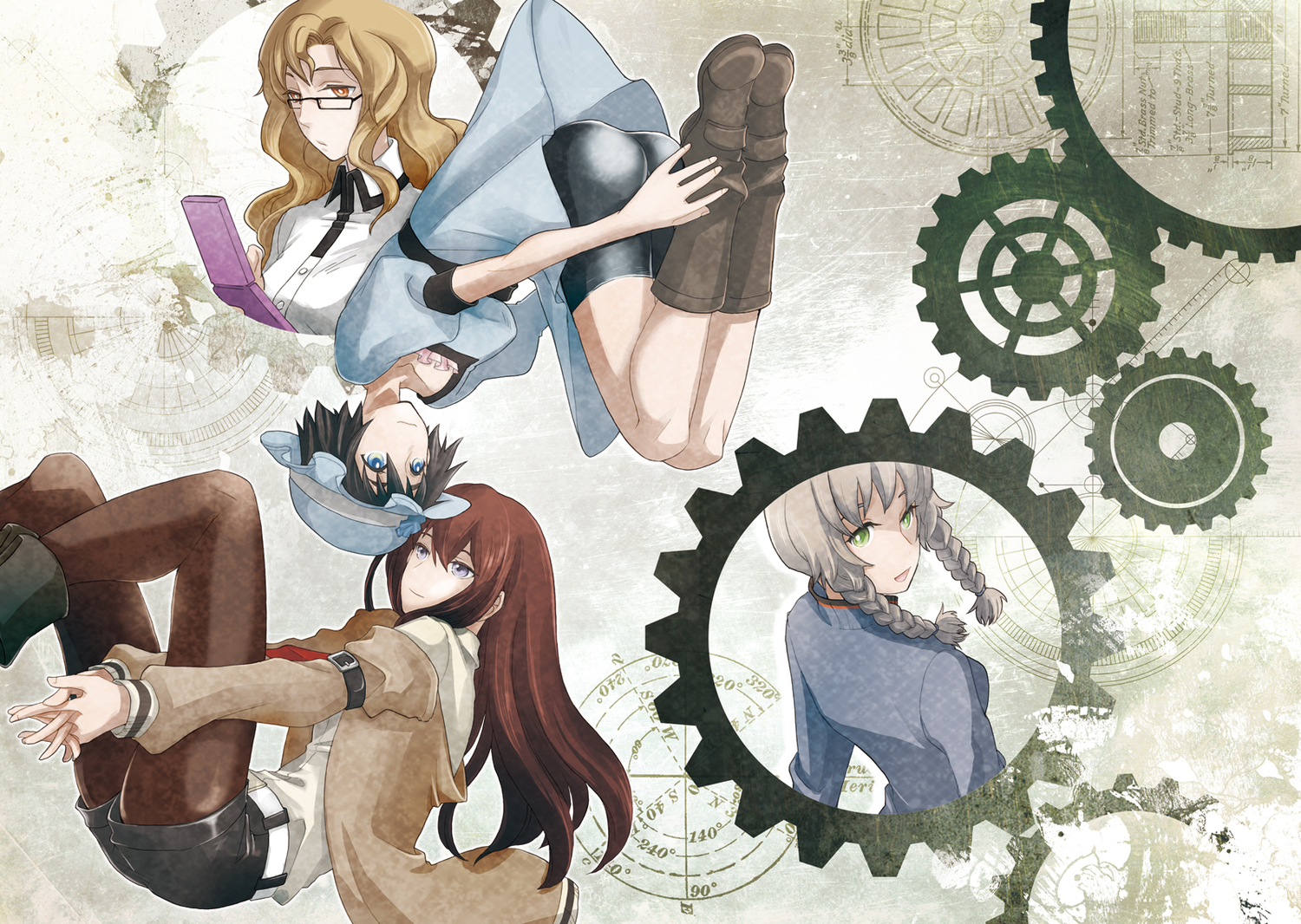 amane_suzuha boots brown_hair glasses hat kiryuu_moeka makise_kurisu phone s0me shiina_mayuri steins;gate