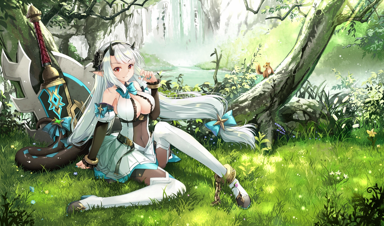 breasts chain cleavage cloudy.r demon epic7 fang forest horns long_hair pantyhose pointed_ears red_eyes sword tail tree weapon white_hair yufine_(epic7)