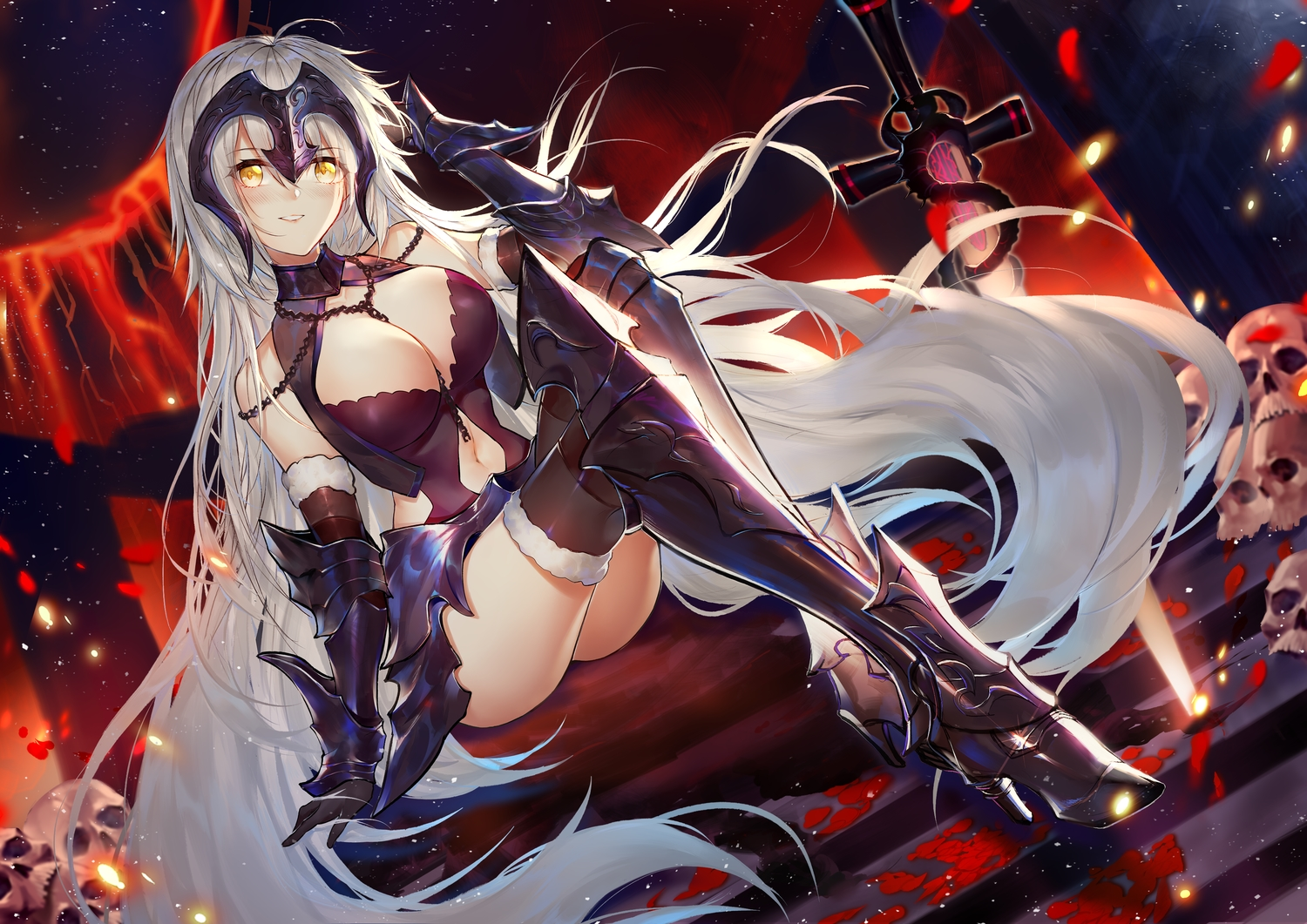 armor breasts chain cleavage fate/grand_order fate_(series) headdress horz jeanne_d'arc_alter jeanne_d'arc_(fate) long_hair navel skull sword thighhighs weapon white_hair yellow_eyes