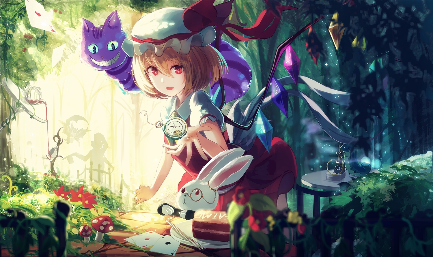alice_in_wonderland animal blonde_hair cat cheshire_cat crossover drink flandre_scarlet food hat nakaichi_(ridil) rabbit red_eyes ribbons short_hair silhouette touhou vampire white_rabbit wings