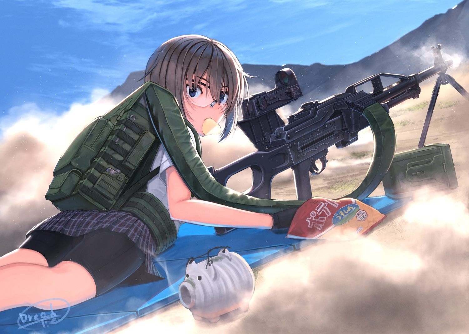 bike_shorts black_hair blue_eyes clouds dreadtie food glasses gloves gun jpeg_artifacts original short_hair shorts signed skirt sky weapon