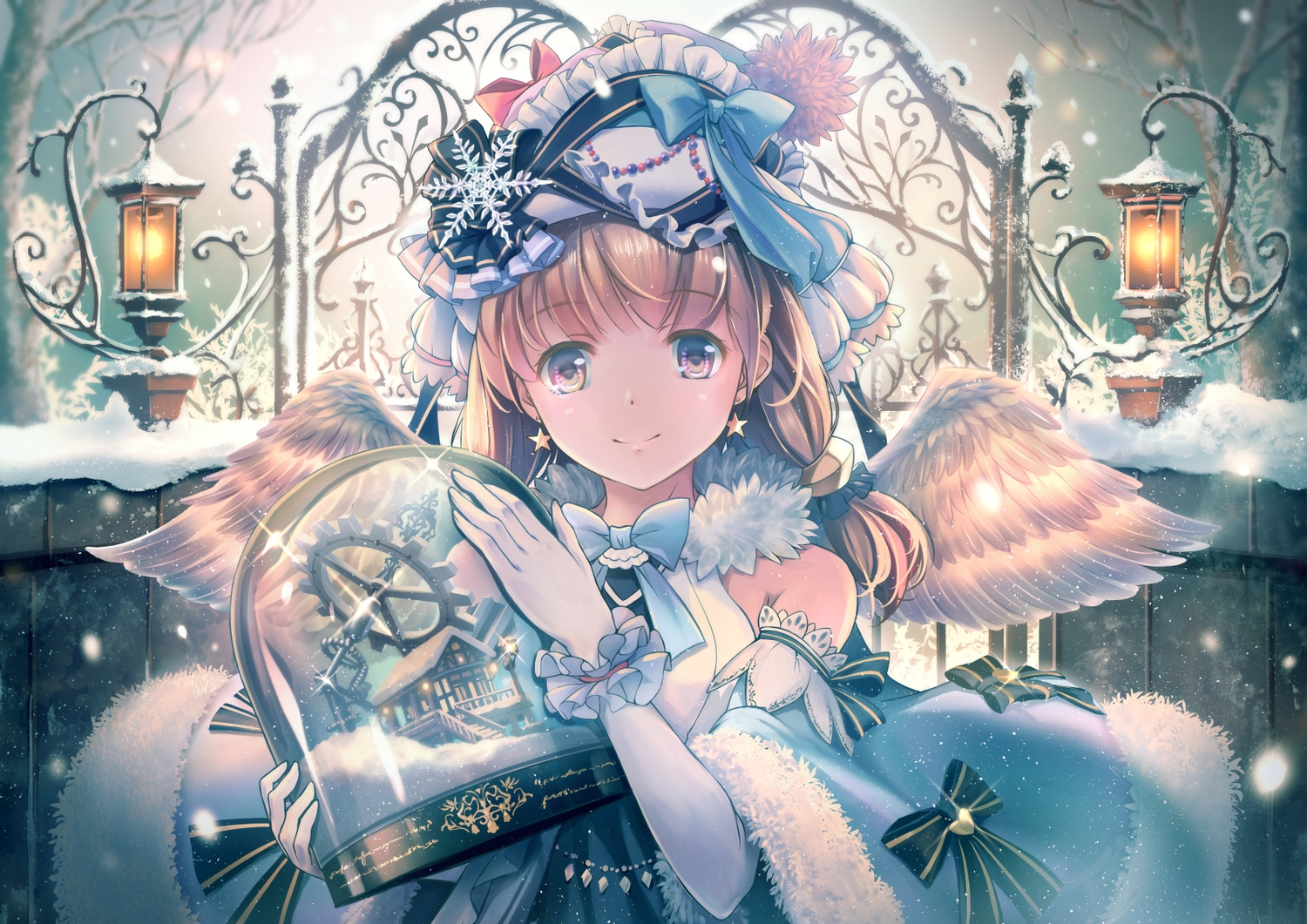 angel bow brown_eyes brown_hair elbow_gloves feathers gloves headdress lolita_fashion original snow soraizumi twintails wings winter