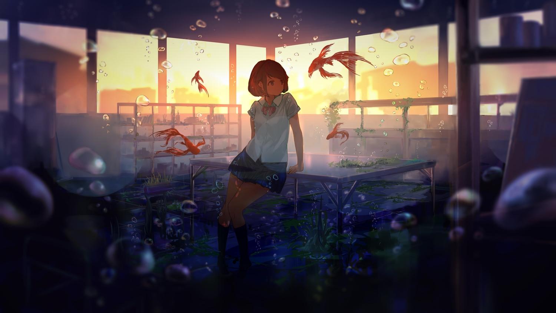 animal bubbles fish goroku kneehighs original scenic school_uniform skirt underwater water