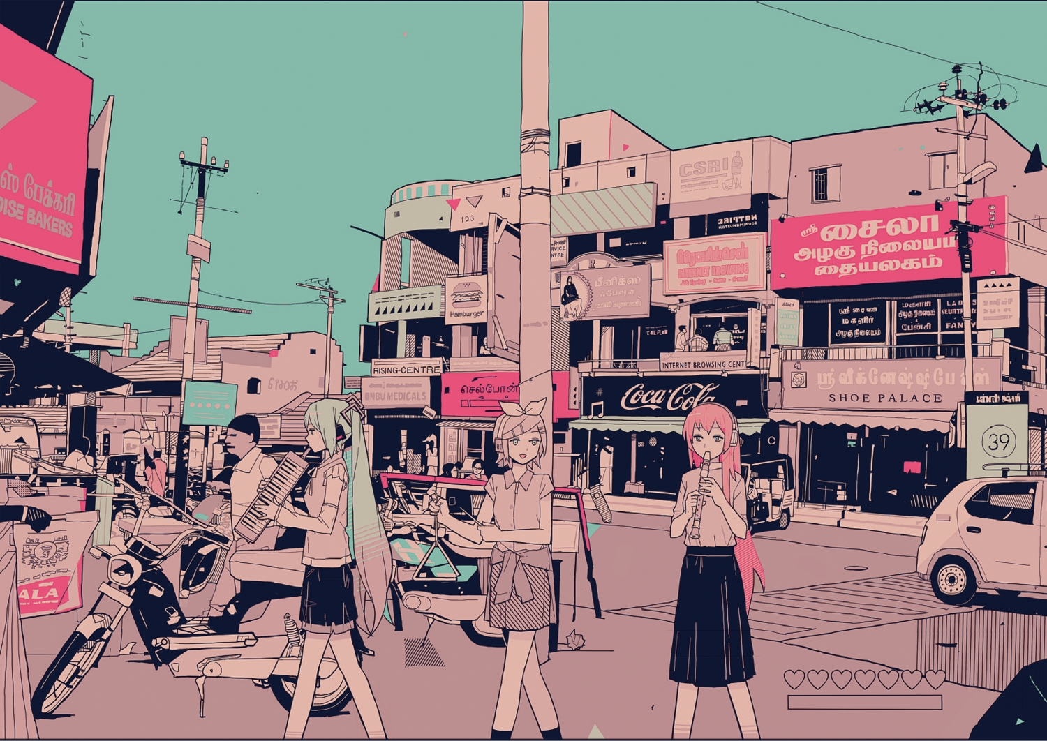 building car city hatsune_miku instrument kagamine_rin megurine_luka motorcycle nihohe polychromatic vocaloid