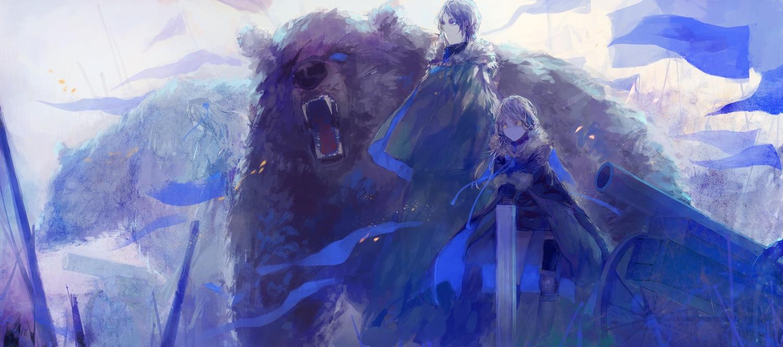 animal bear blue brown_hair eyepatch fabri monochrome original pixiv_fantasia weapon