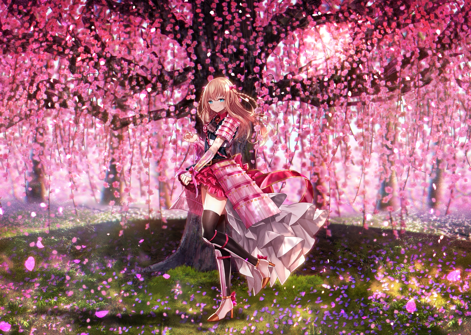 abandon_ranka all_male anthropomorphism aqua_eyes armor blonde_hair blush bow braids cherry_blossoms dress flowers grass katana long_hair male midare_toushirou petals samurai sword thighhighs touken_ranbu trap tree weapon