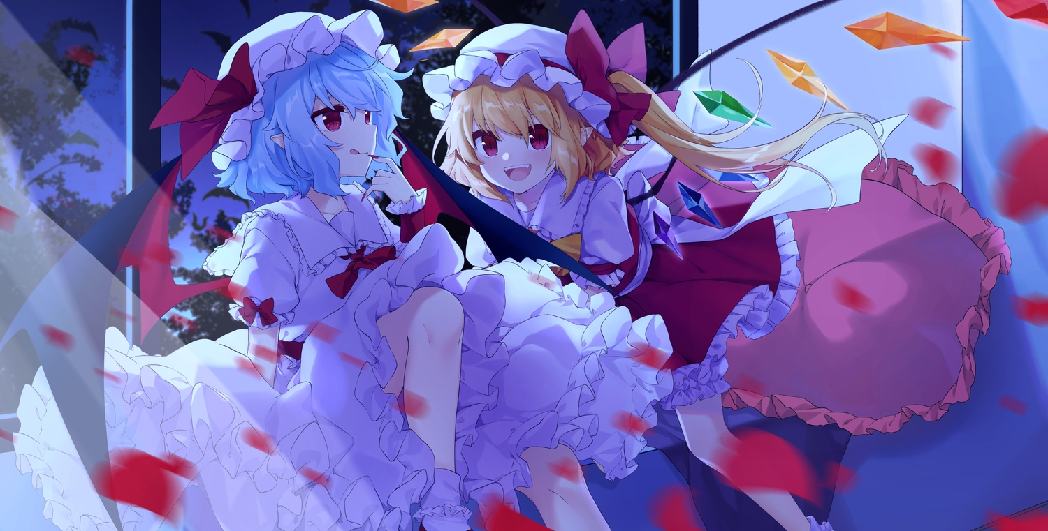 2girls blonde_hair blue_hair bow dress fang flandre_scarlet night petals pointed_ears ponytail red_eyes remilia_scarlet short_hair skirt socks touhou transistor vampire wings wristwear