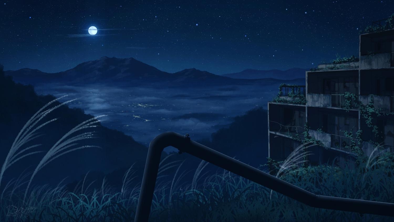 building grass night original pochi_(poti1990) ruins scenic signed sky stars