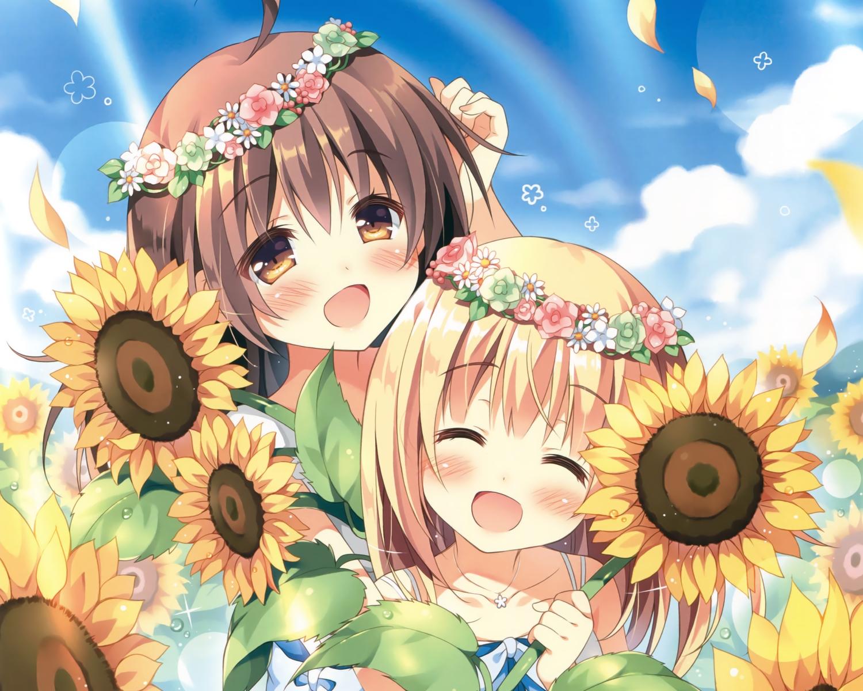 2girls blonde_hair brown_eyes brown_hair cropped flowers headdress kokoa-chan_(pan) loli long_hair original pan_(mimi) scan sunflower ten-chan_(pan)